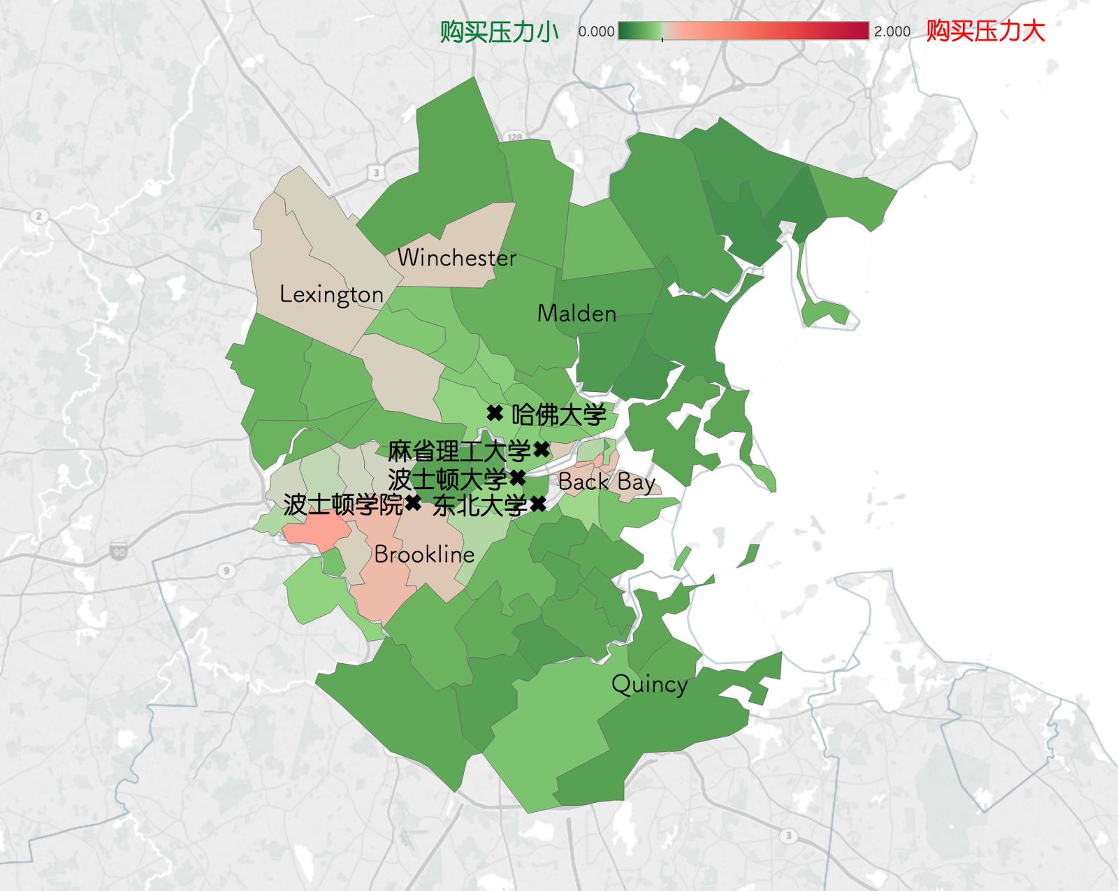 波士顿法律类职业购房压力分布