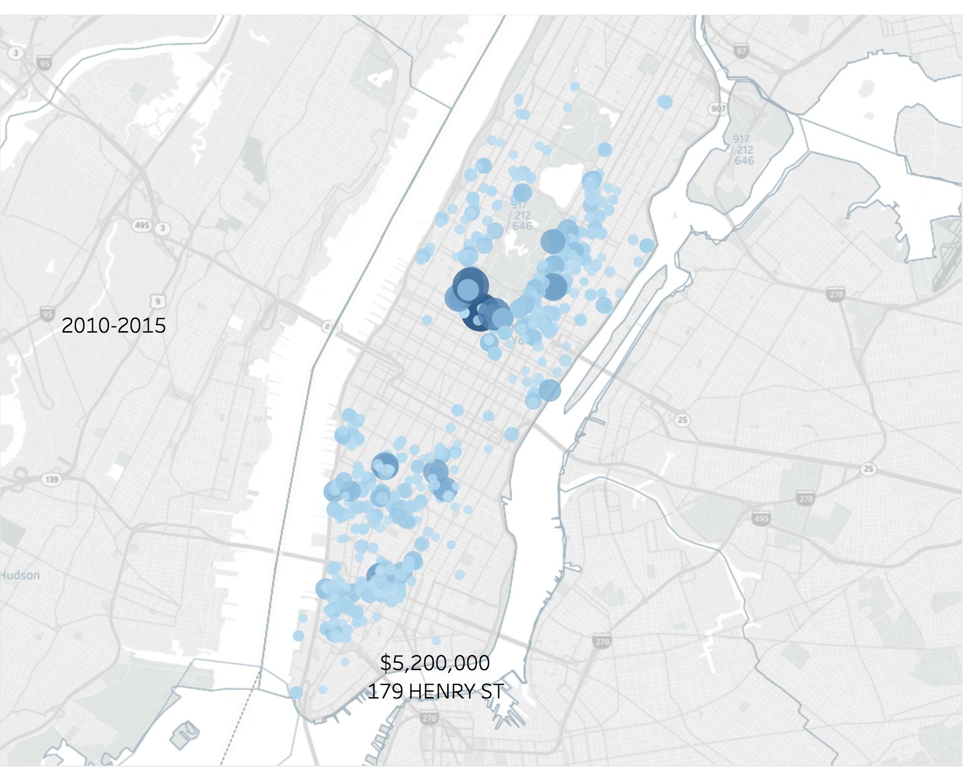 曼哈顿地区超过500万美元的豪宅分布