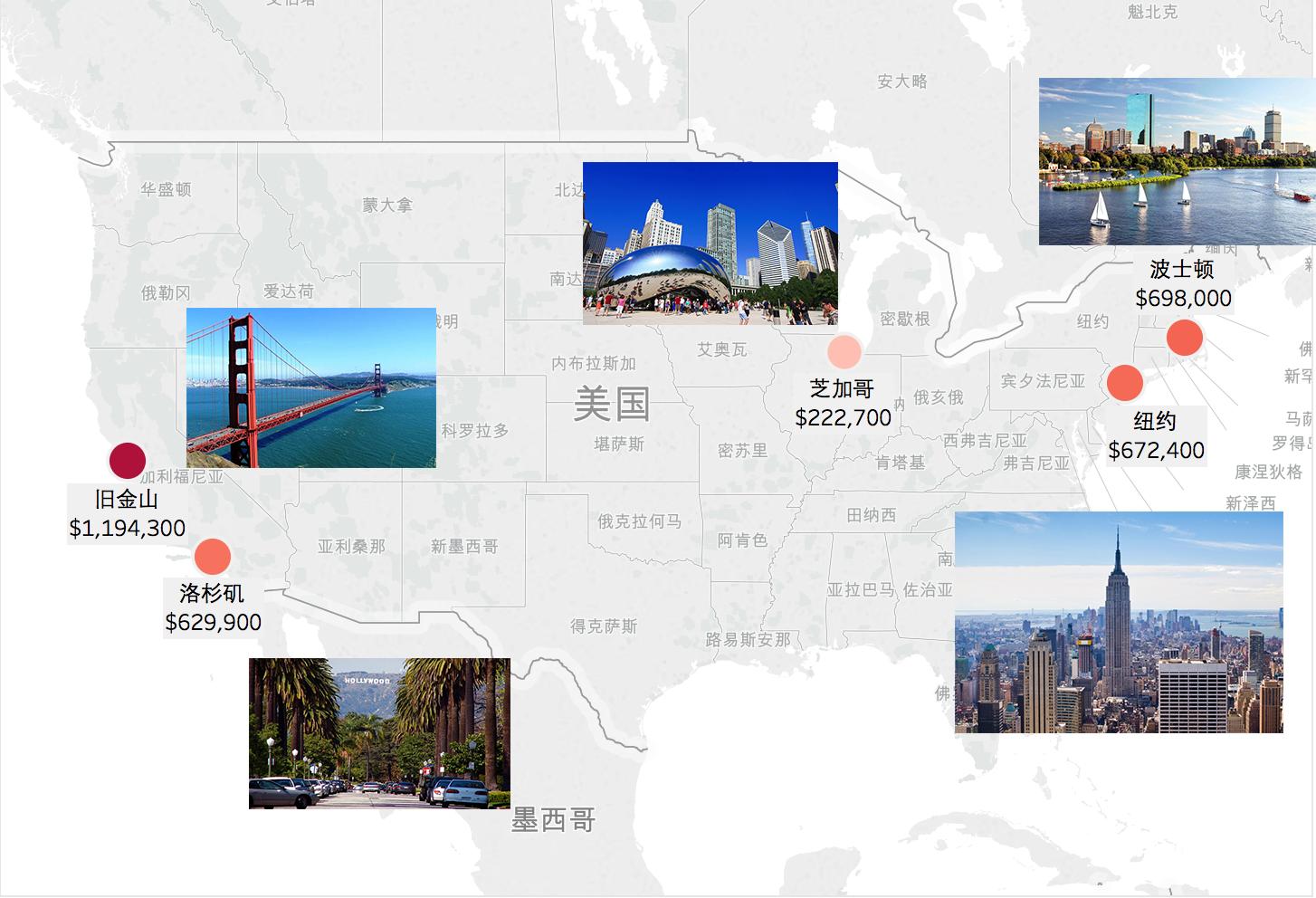 全美5大城市房产中位数