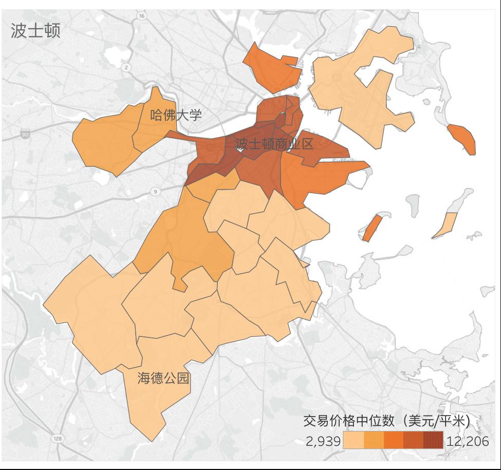 波士顿各地区2017年10月房产交易中位数价格