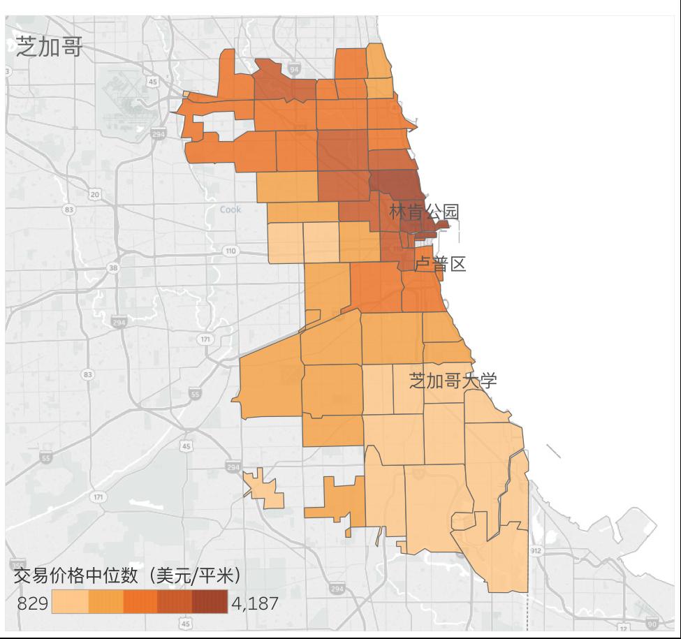 芝加哥各地区2017年10月房产交易中位数价格