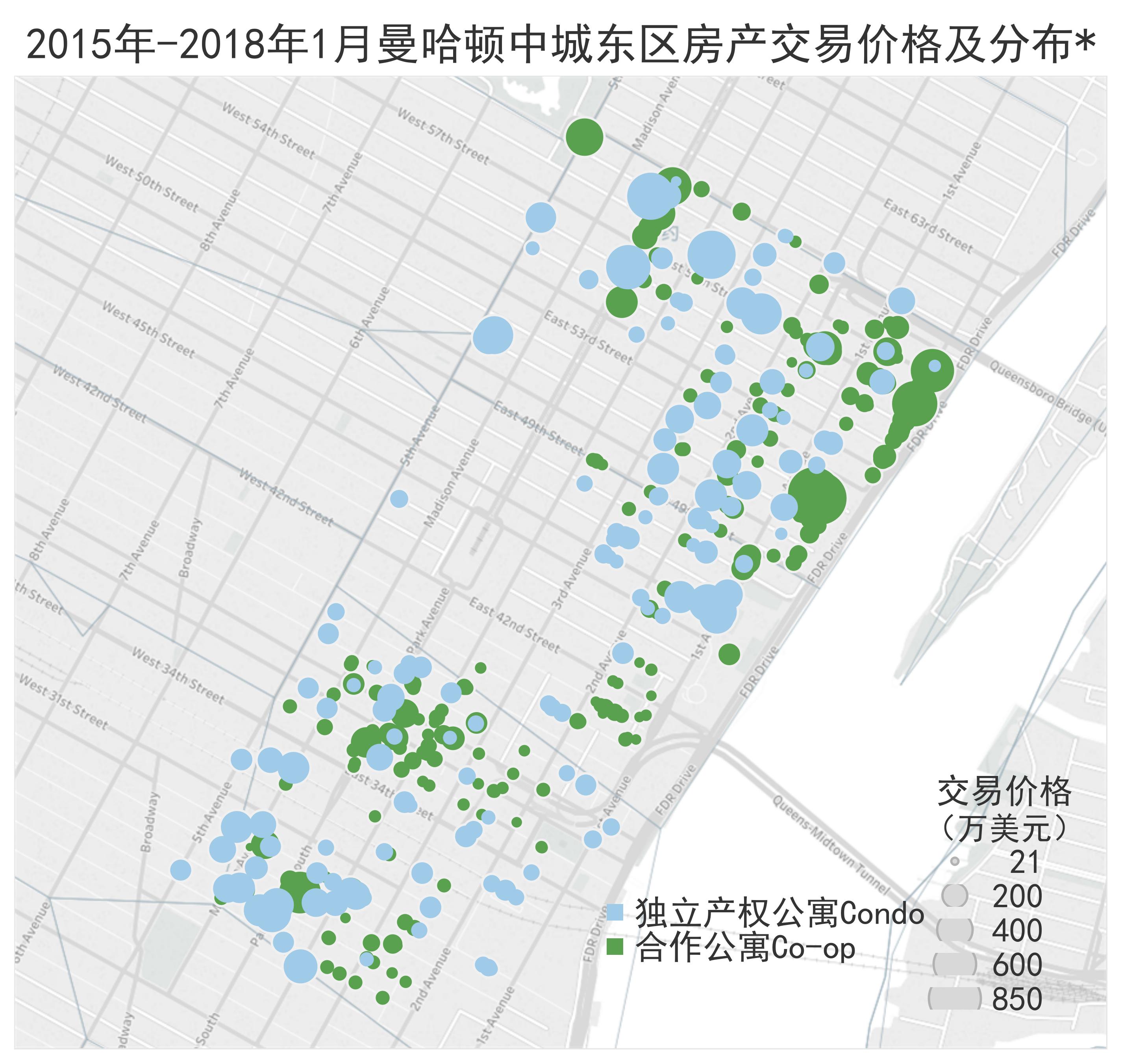 2015-2018年一月曼哈顿中城东区房产交易价格及分布
