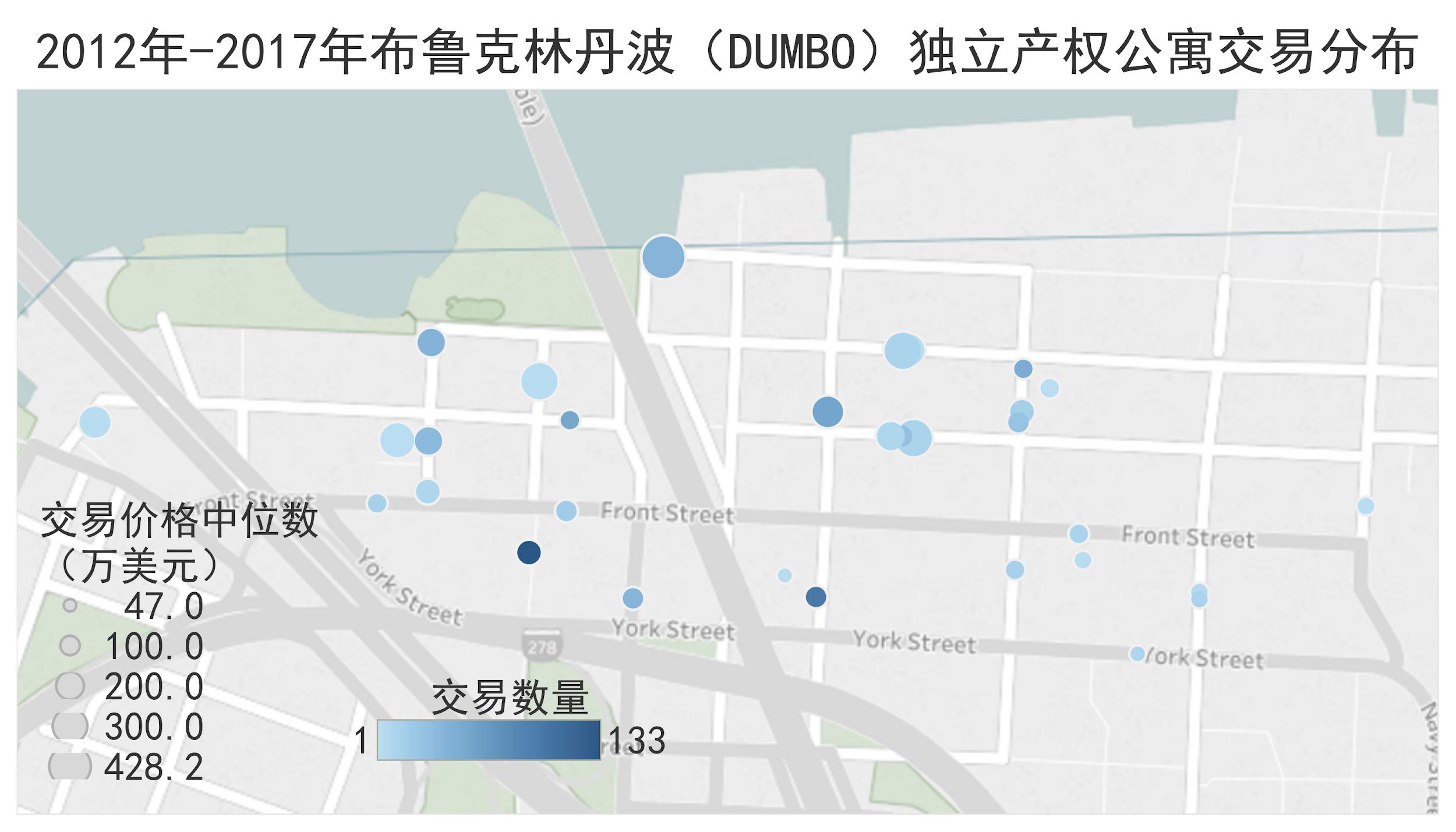 2012-2017布鲁克林DUMBO独立产权公寓价格分布