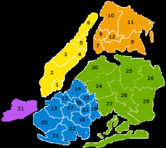 纽约市学区分布图