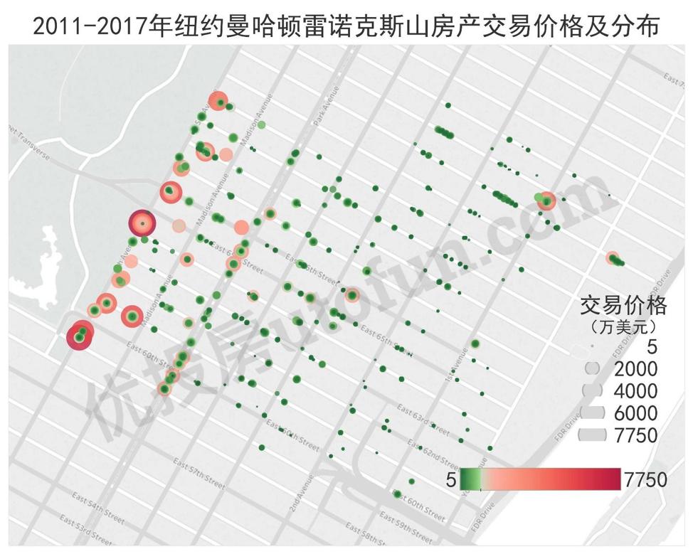 2011-2017纽约曼哈顿雷诺克斯山房价分布