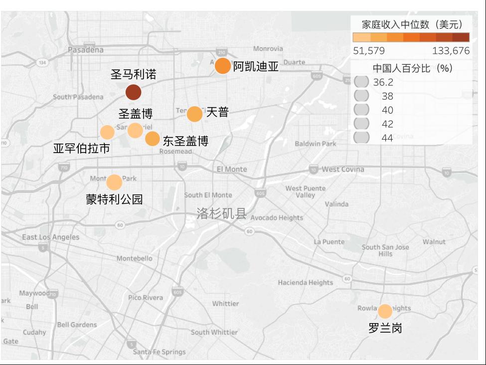 洛杉矶华人聚集区家庭收入中位数