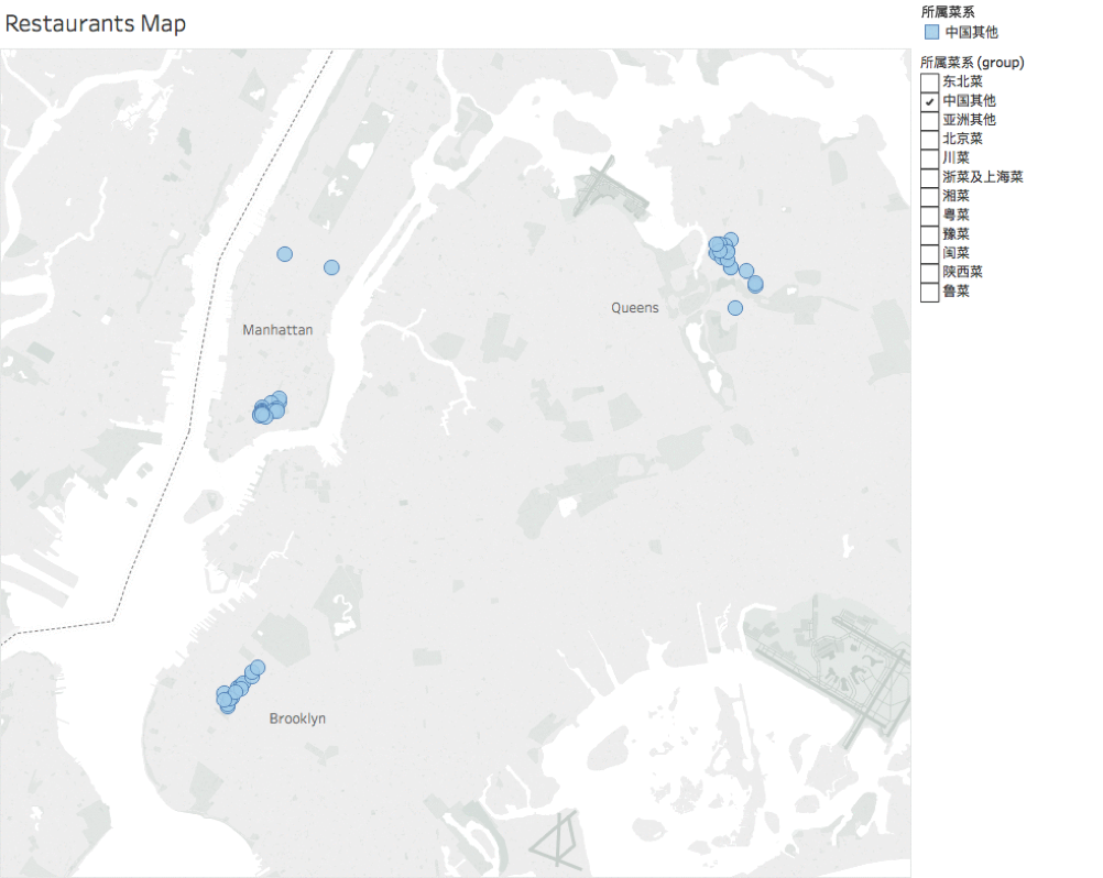 纽约不同类型中餐馆地区分布图