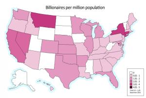 美國百萬富翁的比重地圖